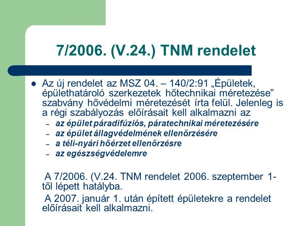 """7/2006. (V.24.) TNM rendelet  Az új rendelet az MSZ 04. – 140/2:91 """"Épületek, épülethatároló szerkezetek hőtechnikai méretezése"""" szabvány hővédelmi m"""