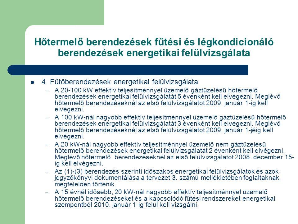 Hőtermelő berendezések fűtési és légkondicionáló berendezések energetikai felülvizsgálata  4. Fűtőberendezések energetikai felülvizsgálata – A 20-100