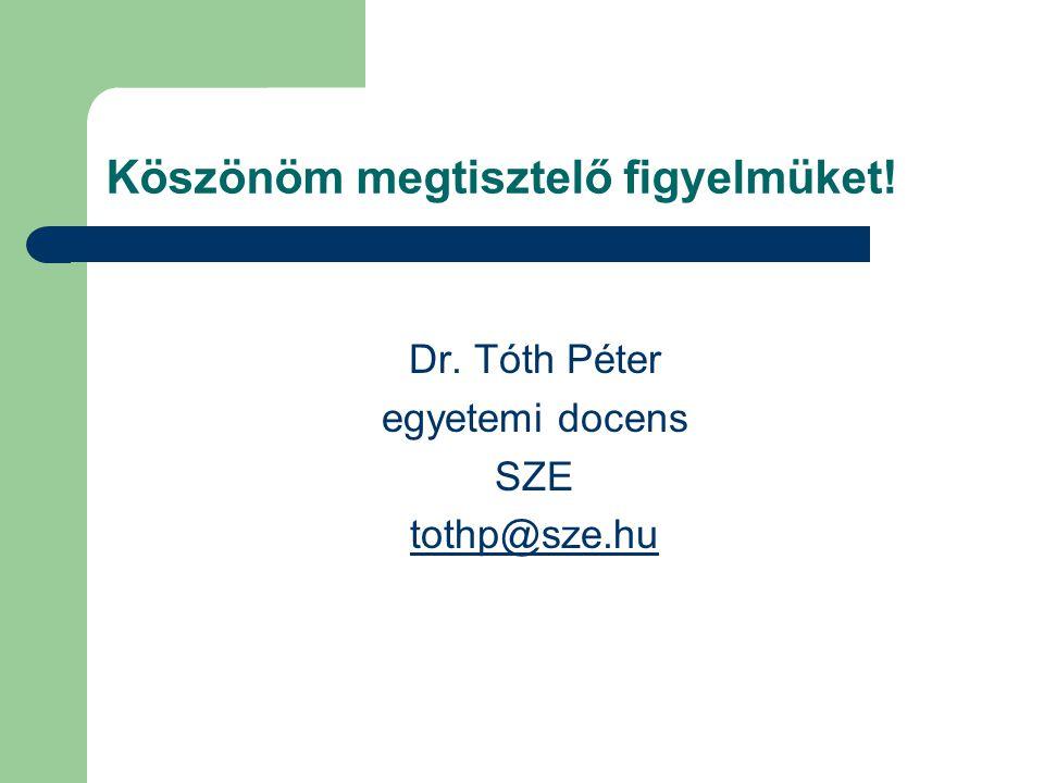 Köszönöm megtisztelő figyelmüket! Dr. Tóth Péter egyetemi docens SZE tothp@sze.hu