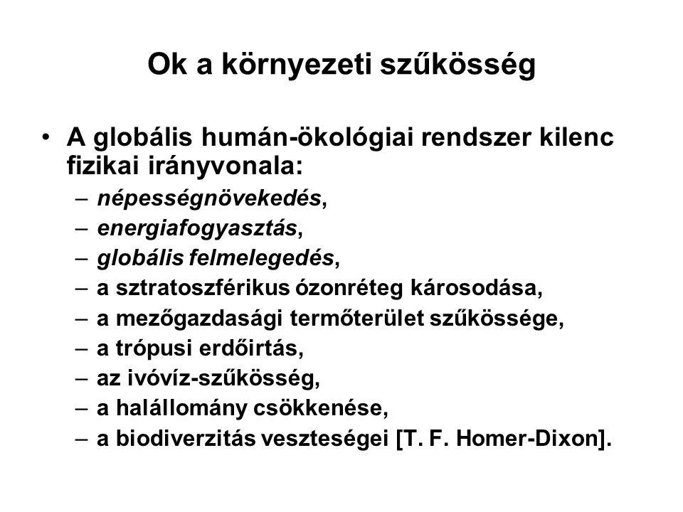 Ok a környezeti szűkösség •A globális humán-ökológiai rendszer kilenc fizikai irányvonala: –népességnövekedés, –energiafogyasztás, –globális felmelege