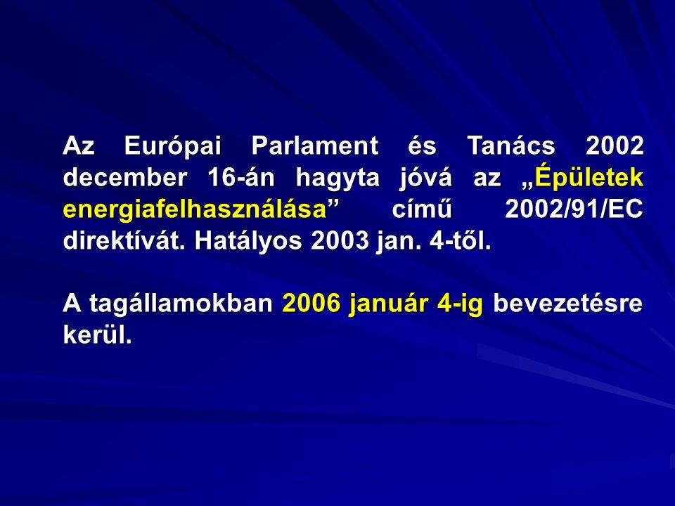 """Az Európai Parlament és Tanács 2002 december 16-án hagyta jóvá az """"Épületek energiafelhasználása"""" című 2002/91/EC direktívát. Hatályos 2003 jan. 4-től"""