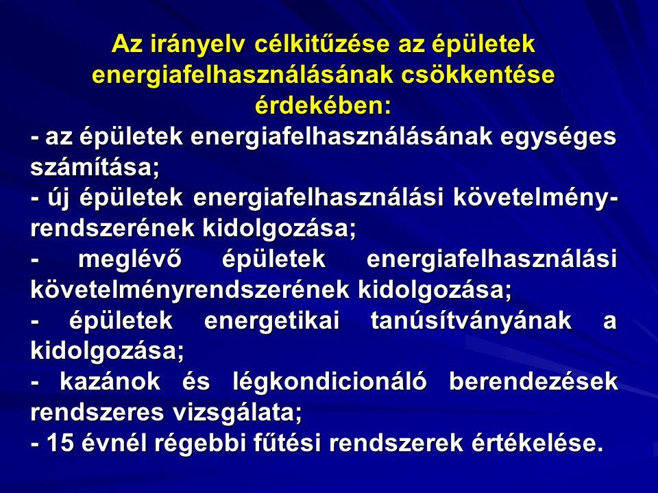 Az irányelv célkitűzése az épületek energiafelhasználásának csökkentése érdekében: - az épületek energiafelhasználásának egységes számítása; - új épületek energiafelhasználási követelmény- rendszerének kidolgozása; - meglévő épületek energiafelhasználási követelményrendszerének kidolgozása; - épületek energetikai tanúsítványának a kidolgozása; - kazánok és légkondicionáló berendezések rendszeres vizsgálata; - 15 évnél régebbi fűtési rendszerek értékelése.