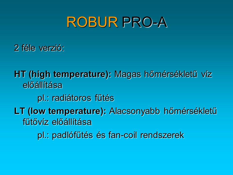 ROBUR PRO-A 2 féle verzió: HT (high temperature): Magas hőmérsékletű víz előállítása pl.: radiátoros fűtés LT (low temperature): Alacsonyabb hőmérsékl