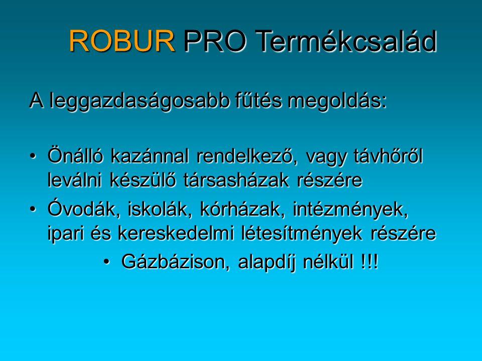 ROBUR PRO-A Fűtési teljesítmény (kW) alakulása a külső hőmérséklet függvényében