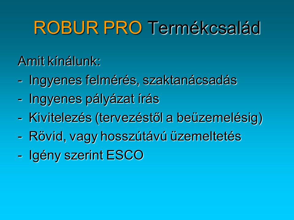 Amit kínálunk: -Ingyenes felmérés, szaktanácsadás -Ingyenes pályázat írás -Kivitelezés (tervezéstől a beüzemelésig) -Rövid, vagy hosszútávú üzemeltetés -Igény szerint ESCO ROBUR PRO Termékcsalád