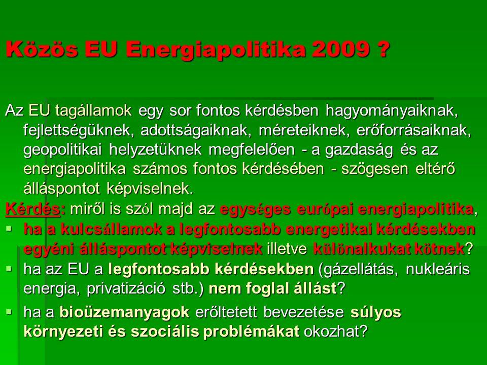 Közös EU Energiapolitika 2009 .