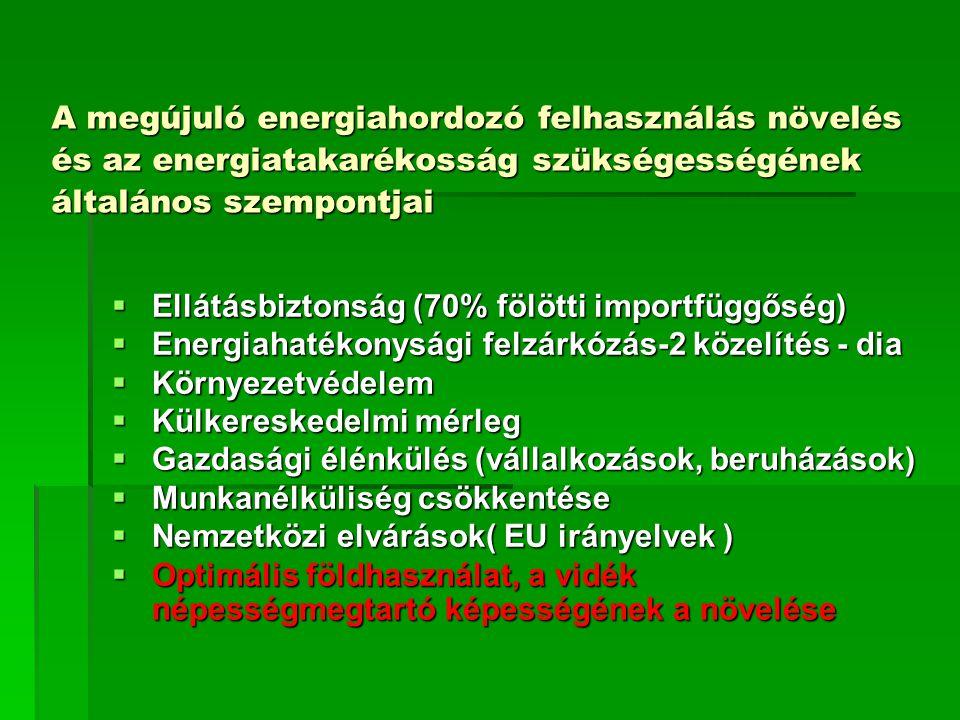 A megújuló energiahordozó felhasználás növelés és az energiatakarékosság szükségességének általános szempontjai  Ellátásbiztonság (70% fölötti importfüggőség)  Energiahatékonysági felzárkózás-2 közelítés - dia  Környezetvédelem  Külkereskedelmi mérleg  Gazdasági élénkülés (vállalkozások, beruházások)  Munkanélküliség csökkentése  Nemzetközi elvárások( EU irányelvek )  Optimális földhasználat, a vidék népességmegtartó képességének a növelése