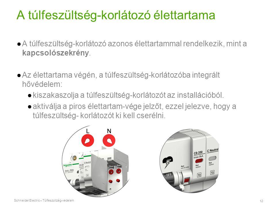 Schneider Electric – Túlfeszültzég-védelem 12 A túlfeszültség-korlátozó élettartama ●A túlfeszültség-korlátozó azonos élettartammal rendelkezik, mint