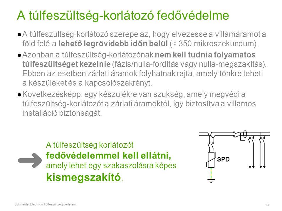 Schneider Electric – Túlfeszültzég-védelem 13 A túlfeszültség-korlátozó fedővédelme ●A túlfeszültség-korlátozó szerepe az, hogy elvezesse a villámáram