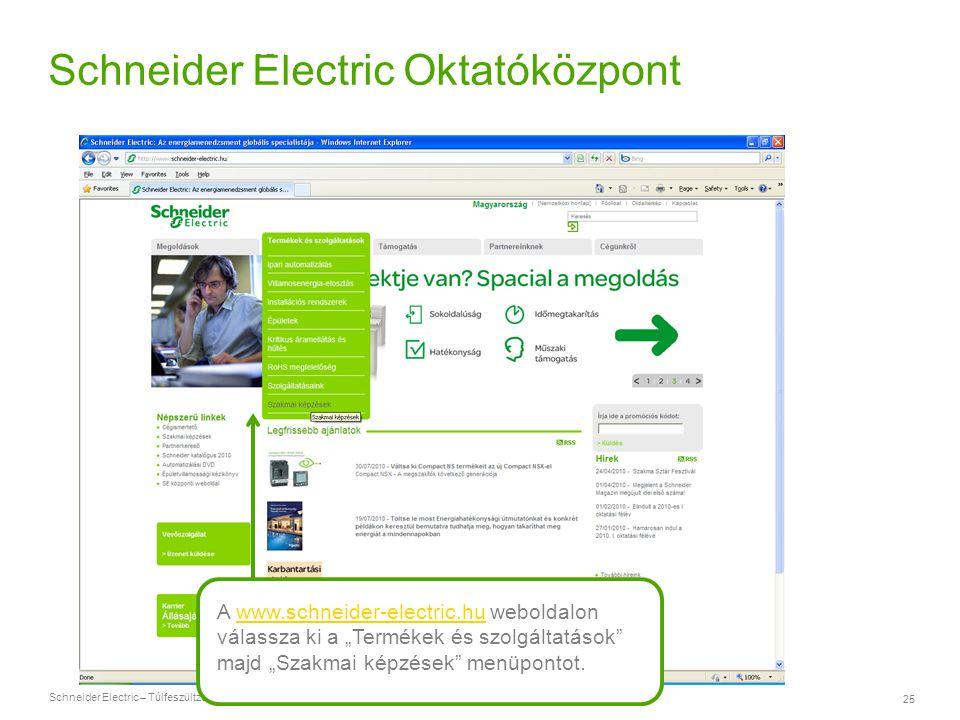 Schneider Electric – Túlfeszültzég-védelem 25 Schneider Electric Oktatóközpont A www.schneider-electric.hu weboldalonwww.schneider-electric.hu válassz