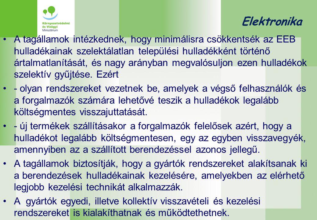 Elektronika •A tagállamok intézkednek, hogy minimálisra csökkentsék az EEB hulladékainak szelektálatlan települési hulladékként történő ártalmatlanítását, és nagy arányban megvalósuljon ezen hulladékok szelektív gyűjtése.