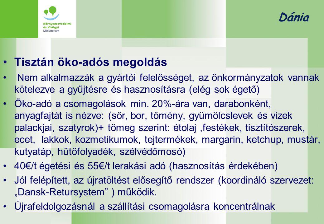 Dánia •Tisztán öko-adós megoldás • Nem alkalmazzák a gyártói felelősséget, az önkormányzatok vannak kötelezve a gyűjtésre és hasznosításra (elég sok égető) •Öko-adó a csomagolások min.