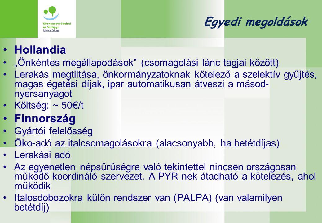 """Egyedi megoldások •Hollandia •""""Önkéntes megállapodások (csomagolási lánc tagjai között) •Lerakás megtiltása, önkormányzatoknak kötelező a szelektív gyűjtés, magas égetési díjak, ipar automatikusan átveszi a másod- nyersanyagot •Költség: ~ 50€/t •Finnország •Gyártói felelősség •Öko-adó az italcsomagolásokra (alacsonyabb, ha betétdíjas) •Lerakási adó •Az egyenetlen népsűrűségre való tekintettel nincsen országosan működő koordináló szervezet."""