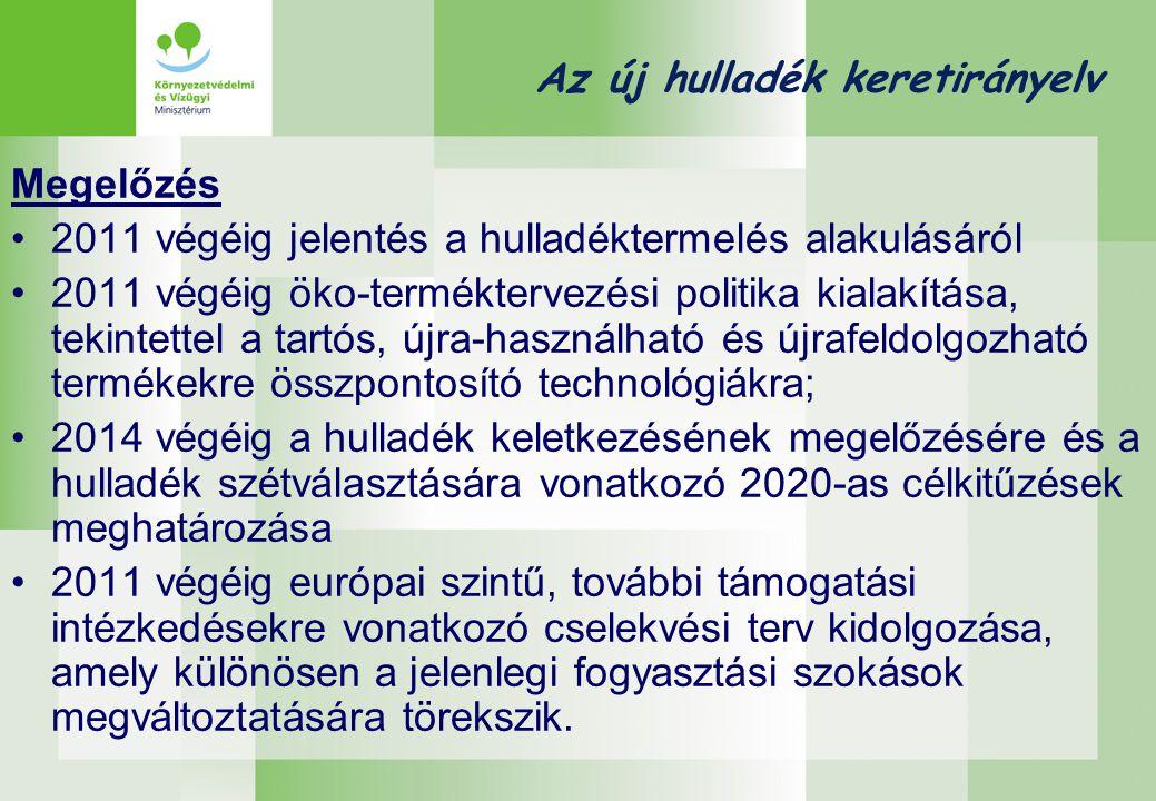 Az új hulladék keretirányelv Megelőzés •2011 végéig jelentés a hulladéktermelés alakulásáról •2011 végéig öko-terméktervezési politika kialakítása, tekintettel a tartós, újra-használható és újrafeldolgozható termékekre összpontosító technológiákra; •2014 végéig a hulladék keletkezésének megelőzésére és a hulladék szétválasztására vonatkozó 2020-as célkitűzések meghatározása •2011 végéig európai szintű, további támogatási intézkedésekre vonatkozó cselekvési terv kidolgozása, amely különösen a jelenlegi fogyasztási szokások megváltoztatására törekszik.