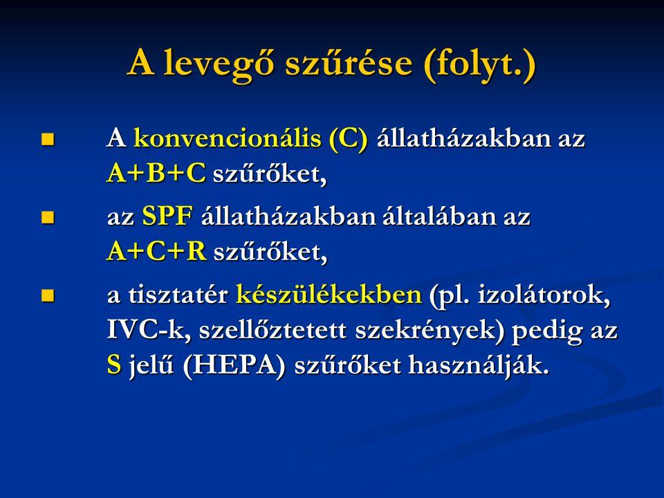 A levegő szűrése (folyt.)  A konvencionális (C) állatházakban az A+B+C szűrőket,  az SPF állatházakban általában az A+C+R szűrőket,  a tisztatér készülékekben (pl.