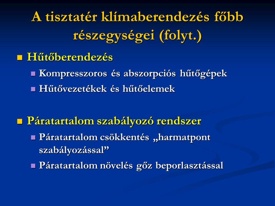 A tisztatér klímaberendezés főbb részegységei (folyt.)  Hűtőberendezés  Kompresszoros és abszorpciós hűtőgépek  Hűtővezetékek és hűtőelemek  Párat