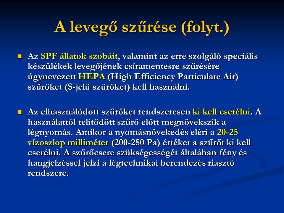A levegő szűrése (folyt.)  Az SPF állatok szobáit, valamint az erre szolgáló speciális készülékek levegőjének csíramentesre szűrésére úgynevezett HEPA (High Efficiency Particulate Air) szűrőket (S-jelű szűrőket) kell használni.