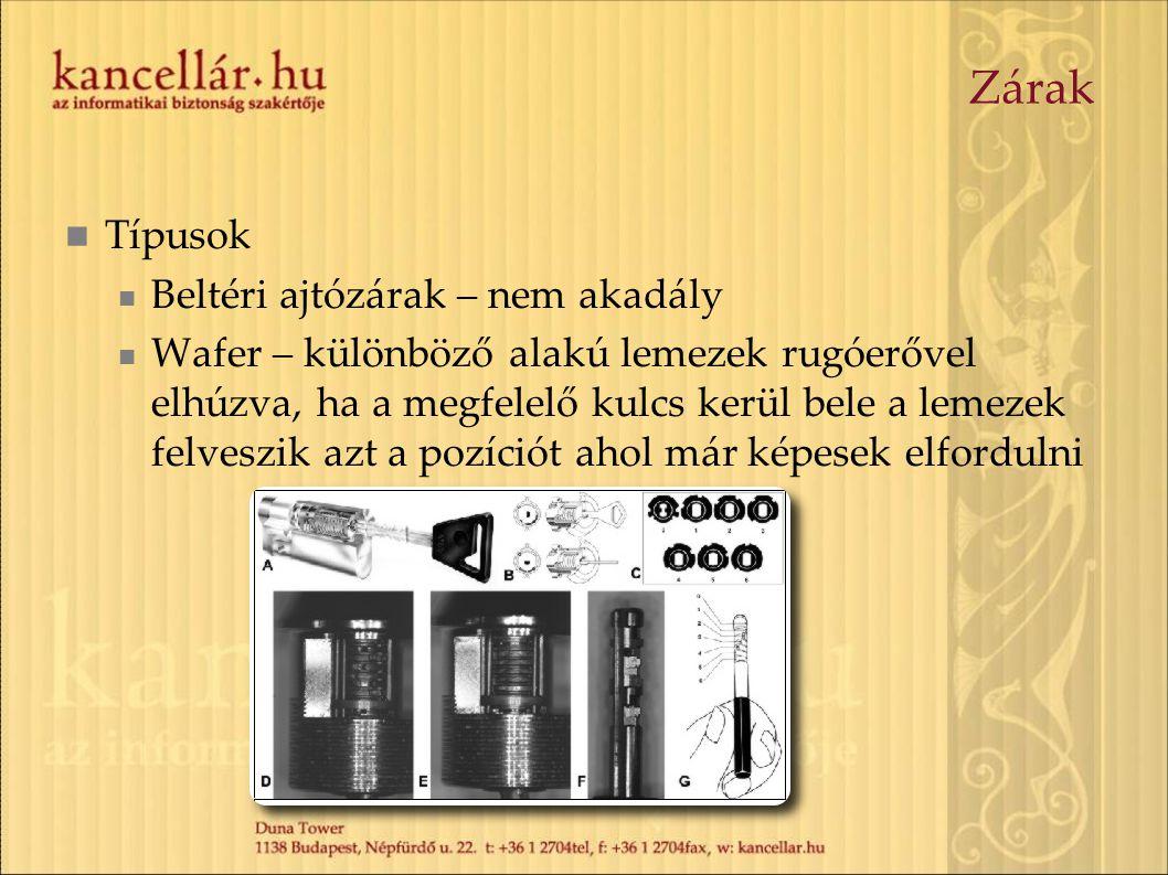 Zárak  Típusok  Beltéri ajtózárak – nem akadály  Wafer – különböző alakú lemezek rugóerővel elhúzva, ha a megfelelő kulcs kerül bele a lemezek felv