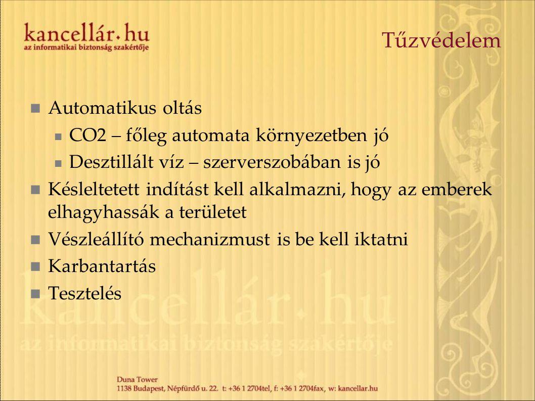 Tűzvédelem  Automatikus oltás  CO2 – főleg automata környezetben jó  Desztillált víz – szerverszobában is jó  Késleltetett indítást kell alkalmazn