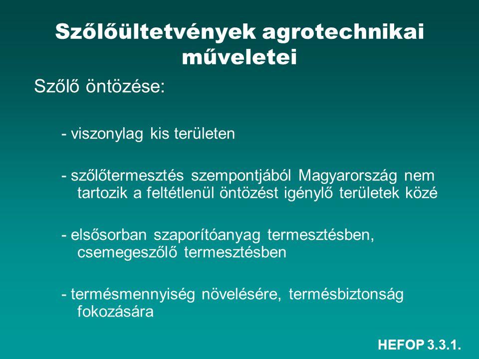 HEFOP 3.3.1. Szőlőültetvények agrotechnikai műveletei Szőlő öntözése: - viszonylag kis területen - szőlőtermesztés szempontjából Magyarország nem tart