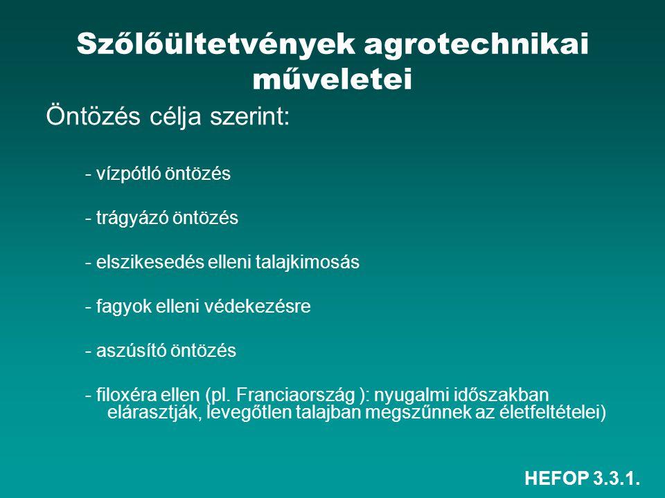 HEFOP 3.3.1. Szőlőültetvények agrotechnikai műveletei Öntözés célja szerint: - vízpótló öntözés - trágyázó öntözés - elszikesedés elleni talajkimosás