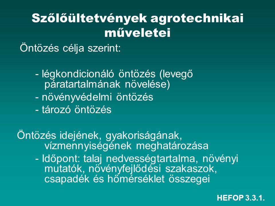 HEFOP 3.3.1. Szőlőültetvények agrotechnikai műveletei Öntözés célja szerint: - légkondicionáló öntözés (levegő páratartalmának növelése) - növényvédel