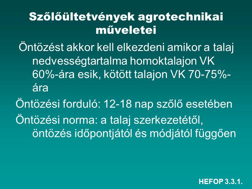 HEFOP 3.3.1. Szőlőültetvények agrotechnikai műveletei Öntözést akkor kell elkezdeni amikor a talaj nedvességtartalma homoktalajon VK 60%-ára esik, köt