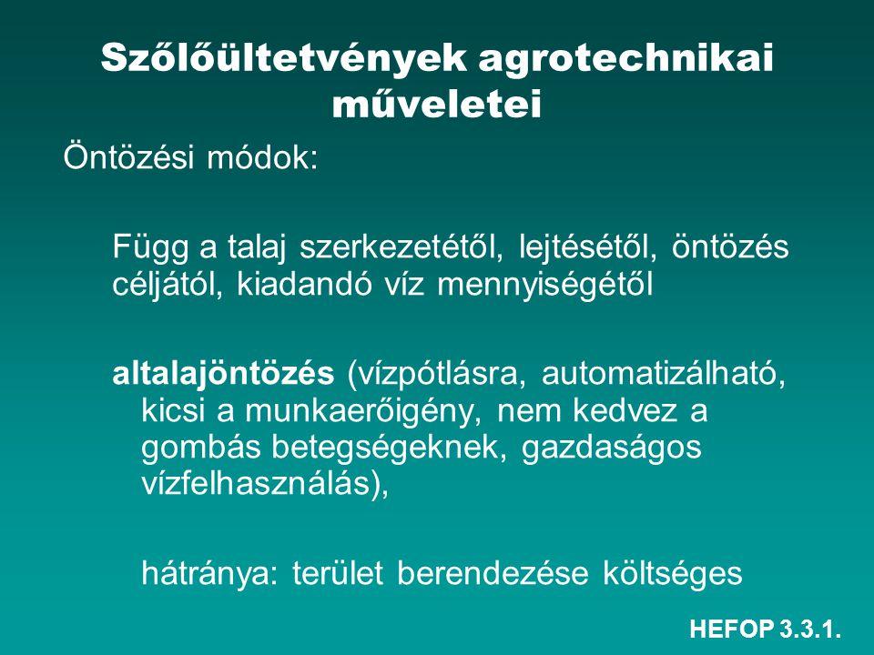 HEFOP 3.3.1. Szőlőültetvények agrotechnikai műveletei Öntözési módok: Függ a talaj szerkezetétől, lejtésétől, öntözés céljától, kiadandó víz mennyiség