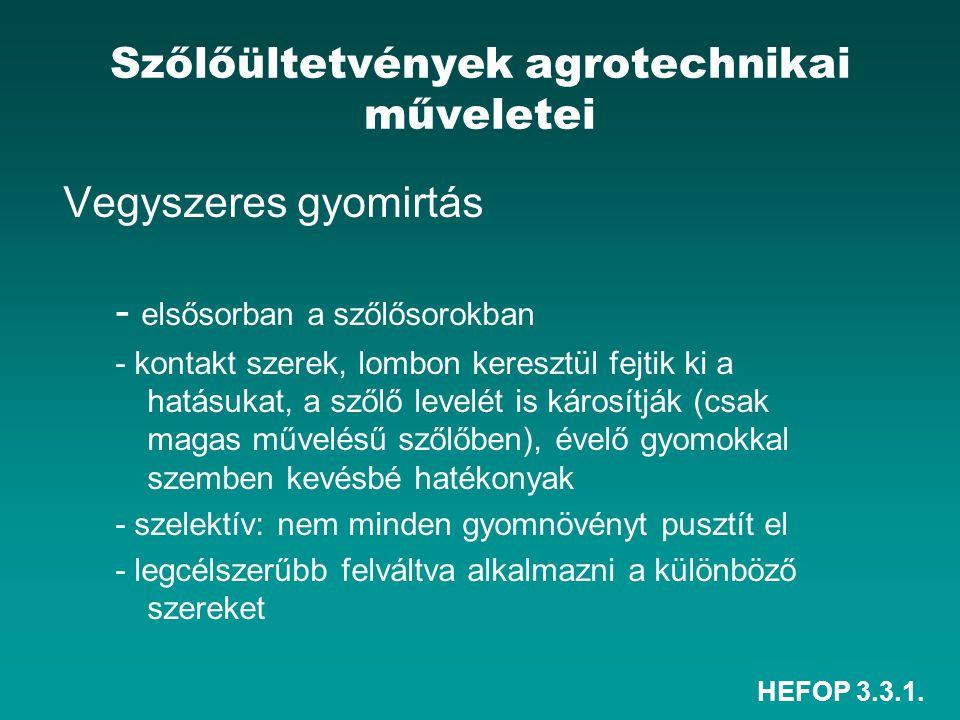 HEFOP 3.3.1. Szőlőültetvények agrotechnikai műveletei Vegyszeres gyomirtás - elsősorban a szőlősorokban - kontakt szerek, lombon keresztül fejtik ki a