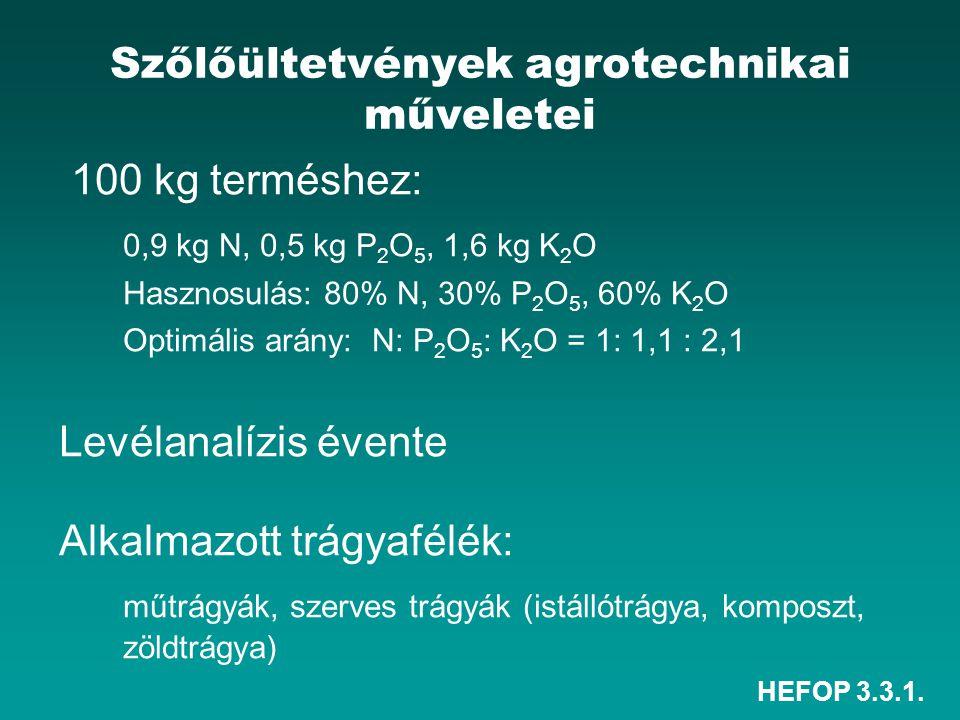 HEFOP 3.3.1. Szőlőültetvények agrotechnikai műveletei 100 kg terméshez: 0,9 kg N, 0,5 kg P 2 O 5, 1,6 kg K 2 O Hasznosulás: 80% N, 30% P 2 O 5, 60% K