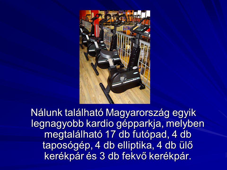 Nálunk található Magyarország egyik legnagyobb kardio gépparkja, melyben megtalálható 17 db futópad, 4 db taposógép, 4 db elliptika, 4 db ülő kerékpár