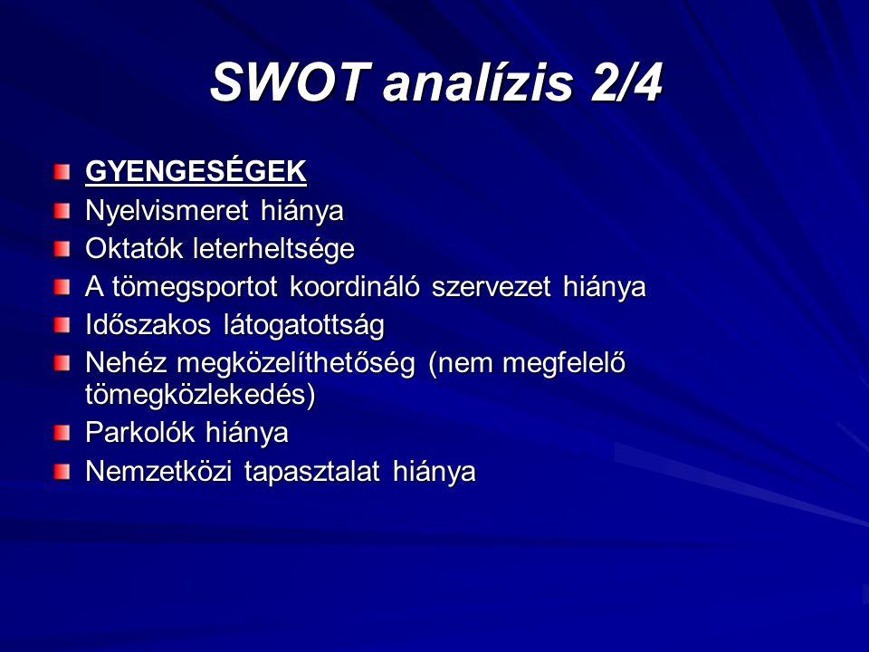SWOT analízis 2/4 GYENGESÉGEK Nyelvismeret hiánya Oktatók leterheltsége A tömegsportot koordináló szervezet hiánya Időszakos látogatottság Nehéz megkö