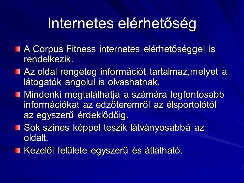 Internetes elérhetőség A Corpus Fitness internetes elérhetőséggel is rendelkezik. Az oldal rengeteg információt tartalmaz,melyet a látogatók angolul i