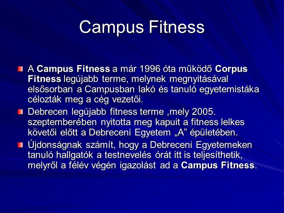 Campus Fitness A Campus Fitness a már 1996 óta működő Corpus Fitness legújabb terme, melynek megnyitásával elsősorban a Campusban lakó és tanuló egyet