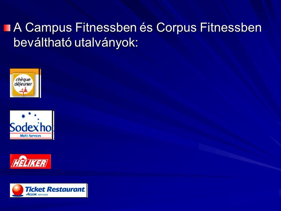 A Campus Fitnessben és Corpus Fitnessben beváltható utalványok: