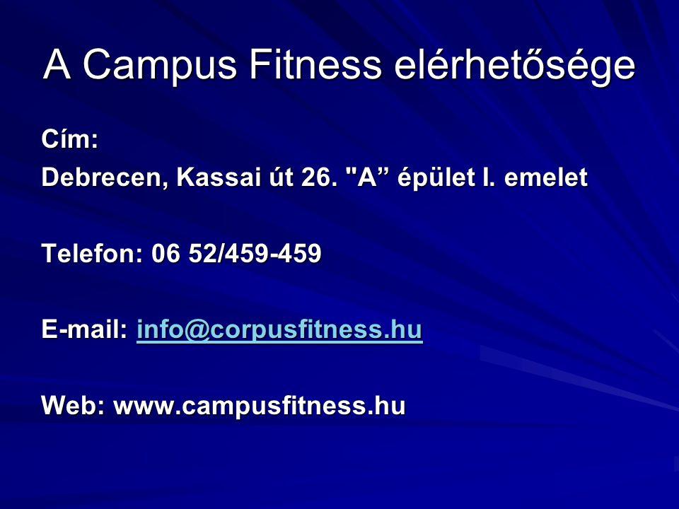 A Campus Fitness elérhetősége Cím: Debrecen, Kassai út 26.
