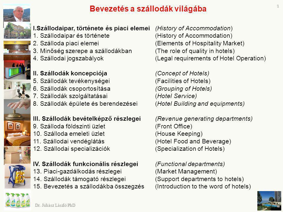 Dr. Juhász László PhD 1 Bevezetés a szállodák világába I.Szállodaipar, története és piaci elemei (History of Accommodation) 1. Szállodaipar és történe