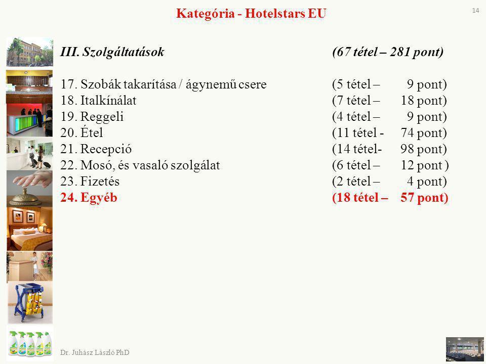 III. Szolgáltatások (67 tétel – 281 pont) 17. Szobák takarítása / ágynemű csere (5 tétel – 9 pont) 18. Italkínálat(7 tétel – 18 pont) 19. Reggeli (4 t