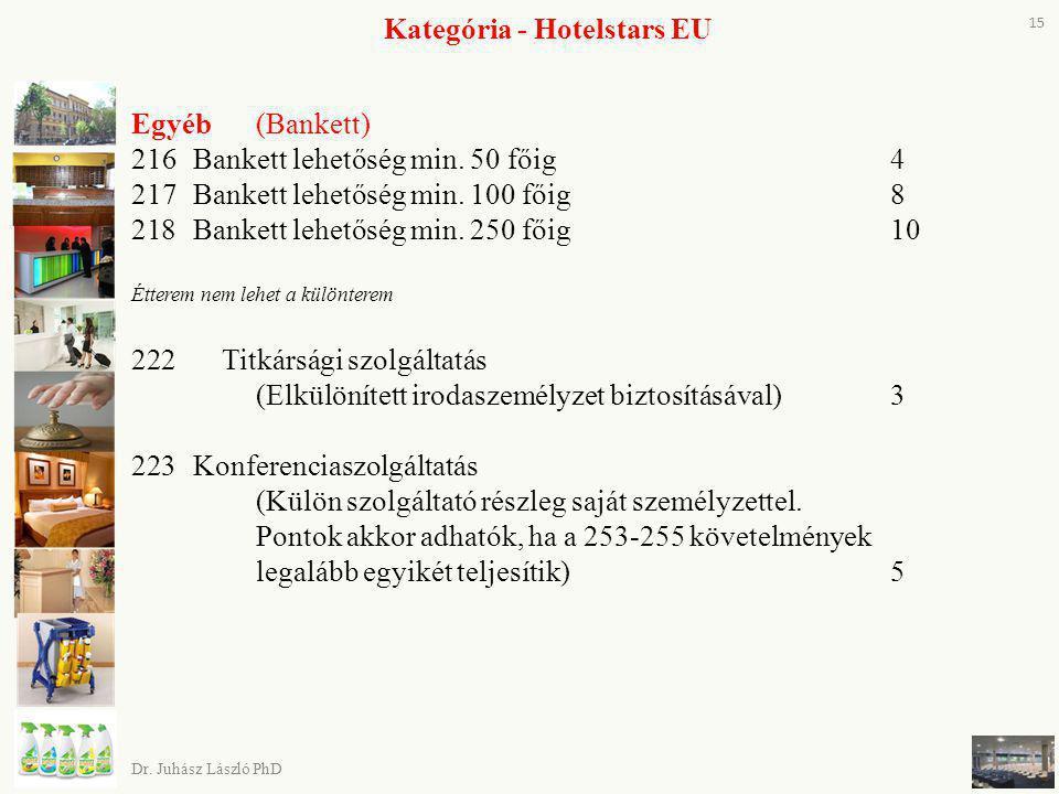Kategória - Hotelstars EU Egyéb(Bankett) 216Bankett lehetőség min. 50 főig 4 217Bankett lehetőség min. 100 főig 8 218Bankett lehetőség min. 250 főig 1