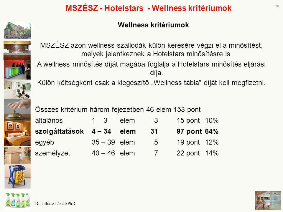 MSZÉSZ - Hotelstars - Wellness kritériumok Wellness kritériumok MSZÉSZ azon wellness szállodák külön kérésére végzi el a minősítést, melyek jelentkezn