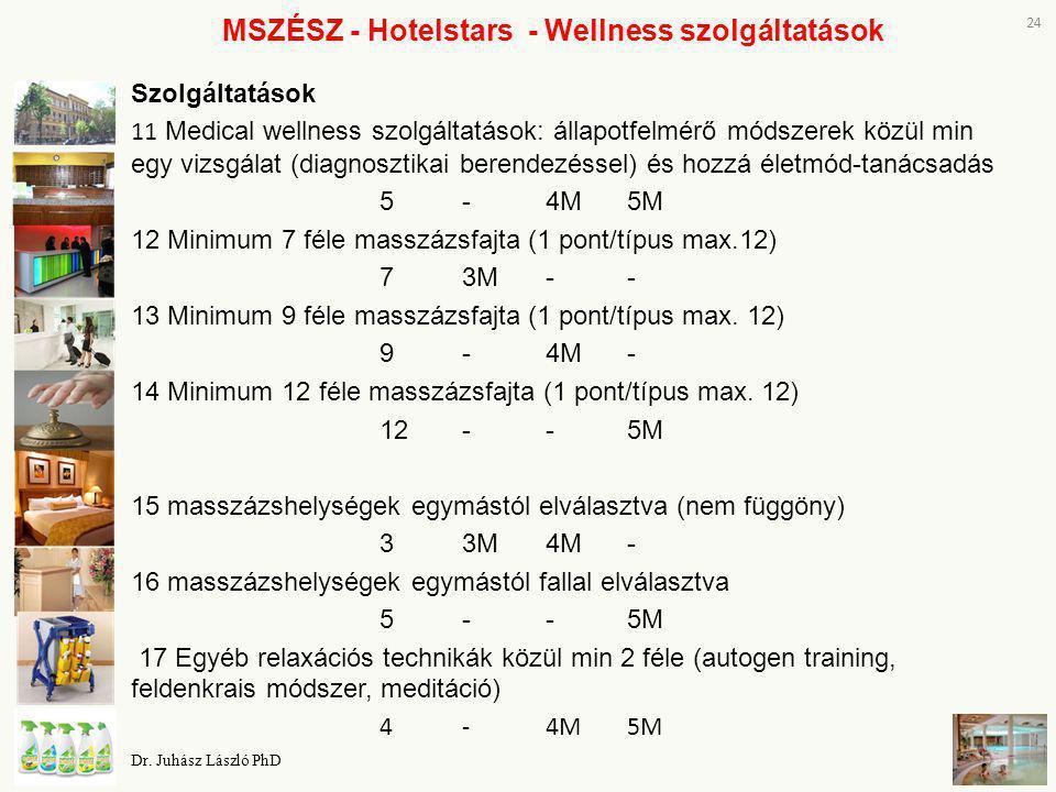 MSZÉSZ - Hotelstars - Wellness szolgáltatások Szolgáltatások 11 Medical wellness szolgáltatások: állapotfelmérő módszerek közül min egy vizsgálat (dia