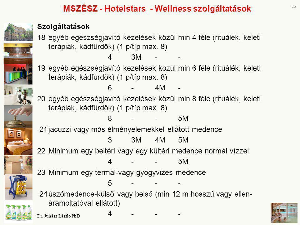 MSZÉSZ - Hotelstars - Wellness szolgáltatások Szolgáltatások 18egyéb egészségjavító kezelések közül min 4 féle (rituálék, keleti terápiák, kádfürdők)