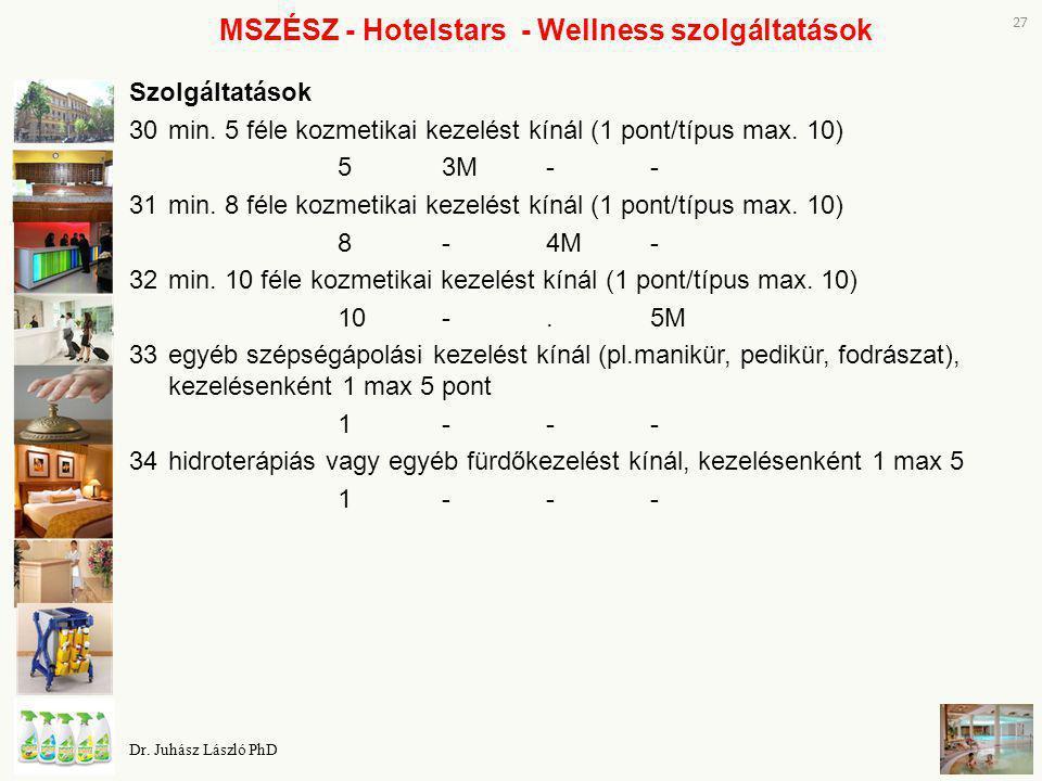 MSZÉSZ - Hotelstars - Wellness szolgáltatások Szolgáltatások 30min. 5 féle kozmetikai kezelést kínál (1 pont/típus max. 10) 53M-- 31min. 8 féle kozmet