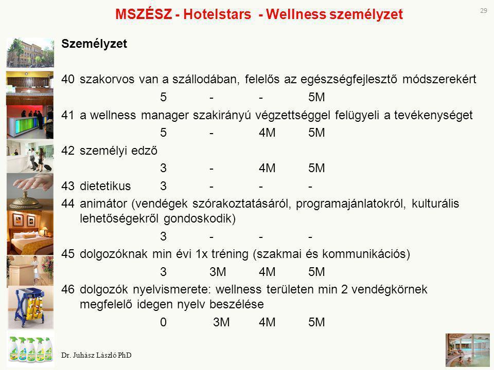 MSZÉSZ - Hotelstars - Wellness személyzet Személyzet 40szakorvos van a szállodában, felelős az egészségfejlesztő módszerekért 5--5M 41a wellness manag