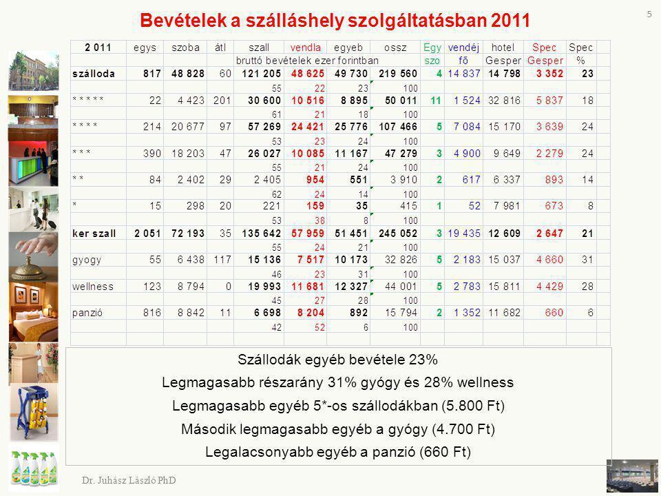 Bevételek a szálláshely szolgáltatásban 2011 5 Dr. Juhász László PhD Szállodák egyéb bevétele 23% Legmagasabb részarány 31% gyógy és 28% wellness Legm