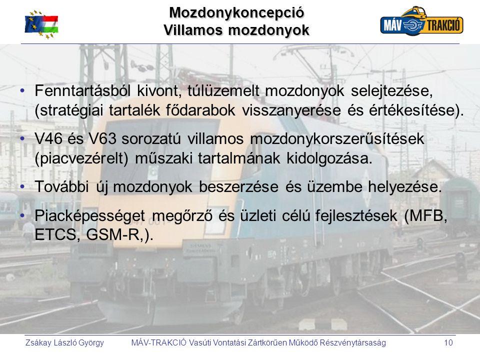 Zsákay László György MÁV-TRAKCIÓ Vasúti Vontatási Zártkörűen Működő Részvénytársaság10 •Fenntartásból kivont, túlüzemelt mozdonyok selejtezése, (strat