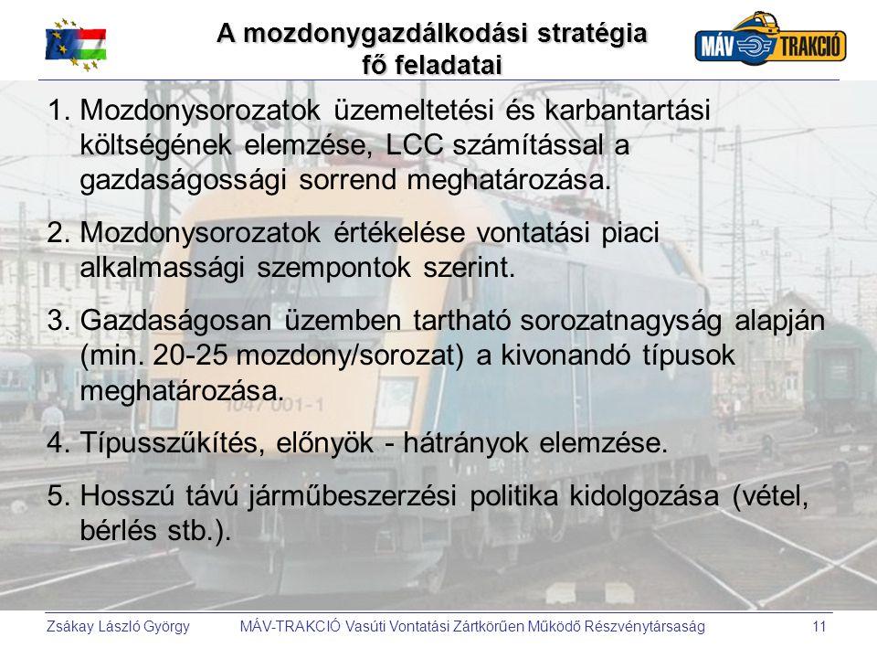 Zsákay László György MÁV-TRAKCIÓ Vasúti Vontatási Zártkörűen Működő Részvénytársaság11 A mozdonygazdálkodási stratégia fő feladatai 1.Mozdonysorozatok