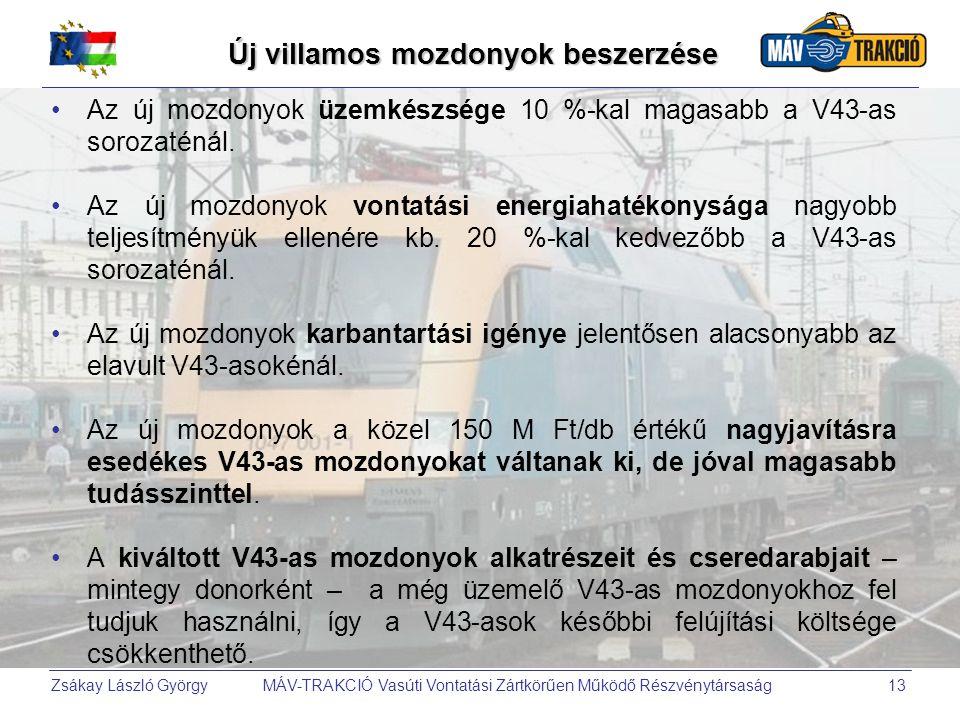 Zsákay László György MÁV-TRAKCIÓ Vasúti Vontatási Zártkörűen Működő Részvénytársaság13 Új villamos mozdonyok beszerzése •Az új mozdonyok üzemkészsége