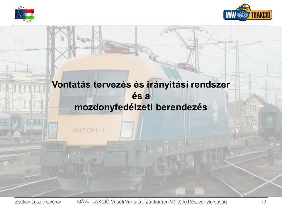 Zsákay László György MÁV-TRAKCIÓ Vasúti Vontatási Zártkörűen Működő Részvénytársaság19 Vontatás tervezés és irányítási rendszer és a mozdonyfedélzeti