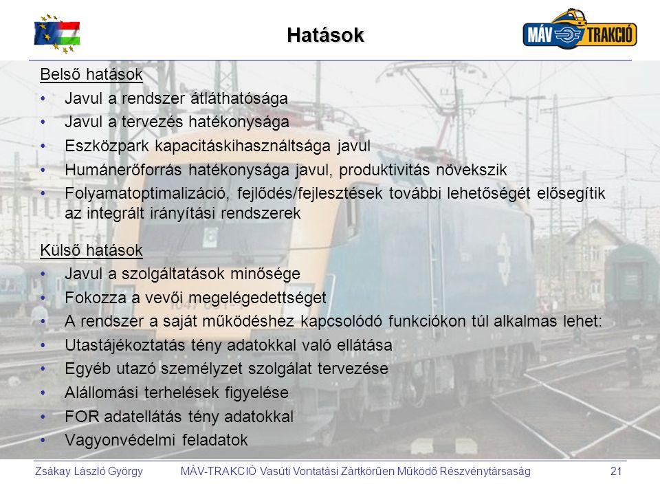 Zsákay László György MÁV-TRAKCIÓ Vasúti Vontatási Zártkörűen Működő Részvénytársaság21 Hatások Belső hatások •Javul a rendszer átláthatósága •Javul a